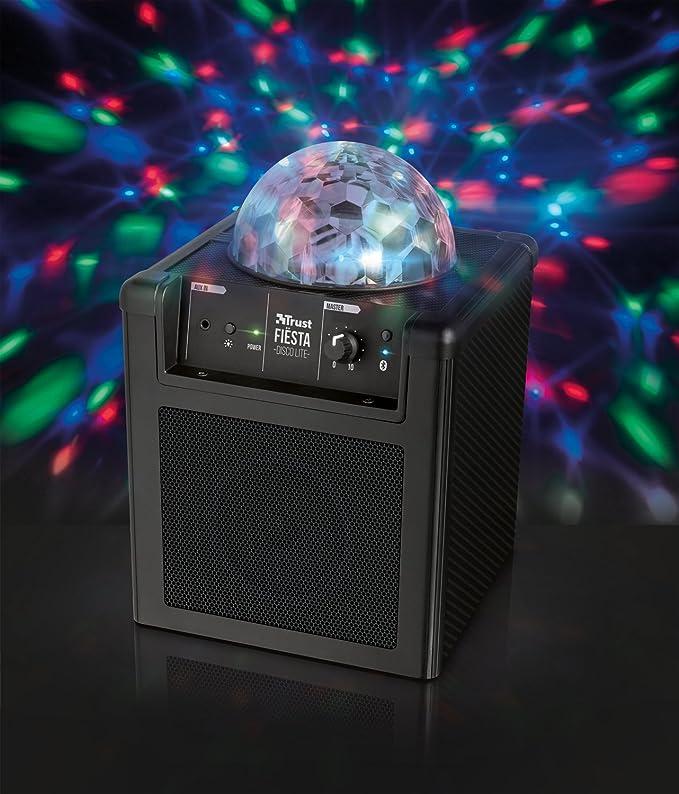 Trust Urban Fi/ësta Disco Tragbarer Lautsprecher mit Mikrofon 20W, 15 Stunden Akkulaufzeit, Interner Akku, LED Lichtshow, Karaoke
