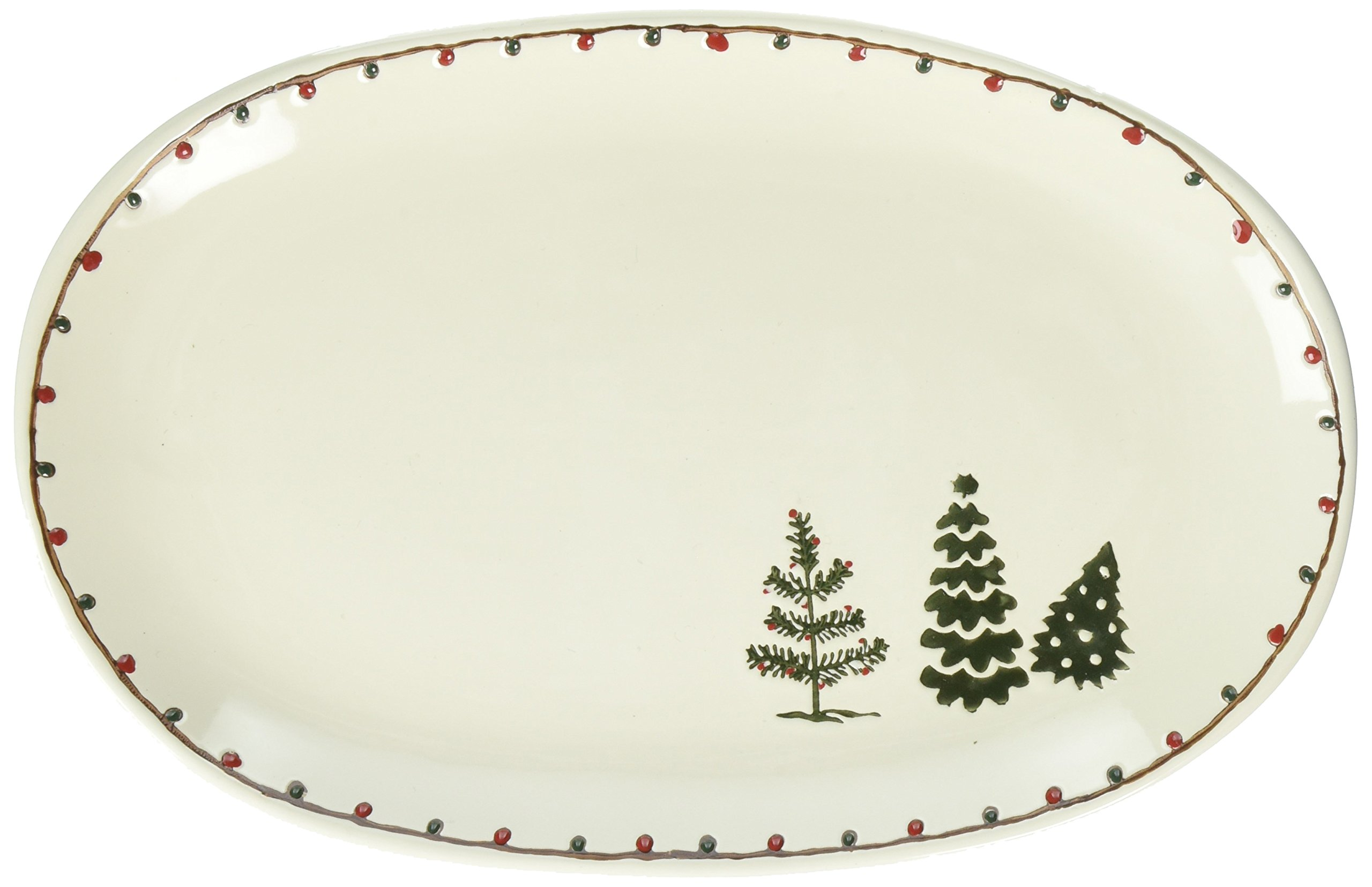 Creative Co-Op 12'' L Oval Stoneware Cream Plate with Trees, Multicolor