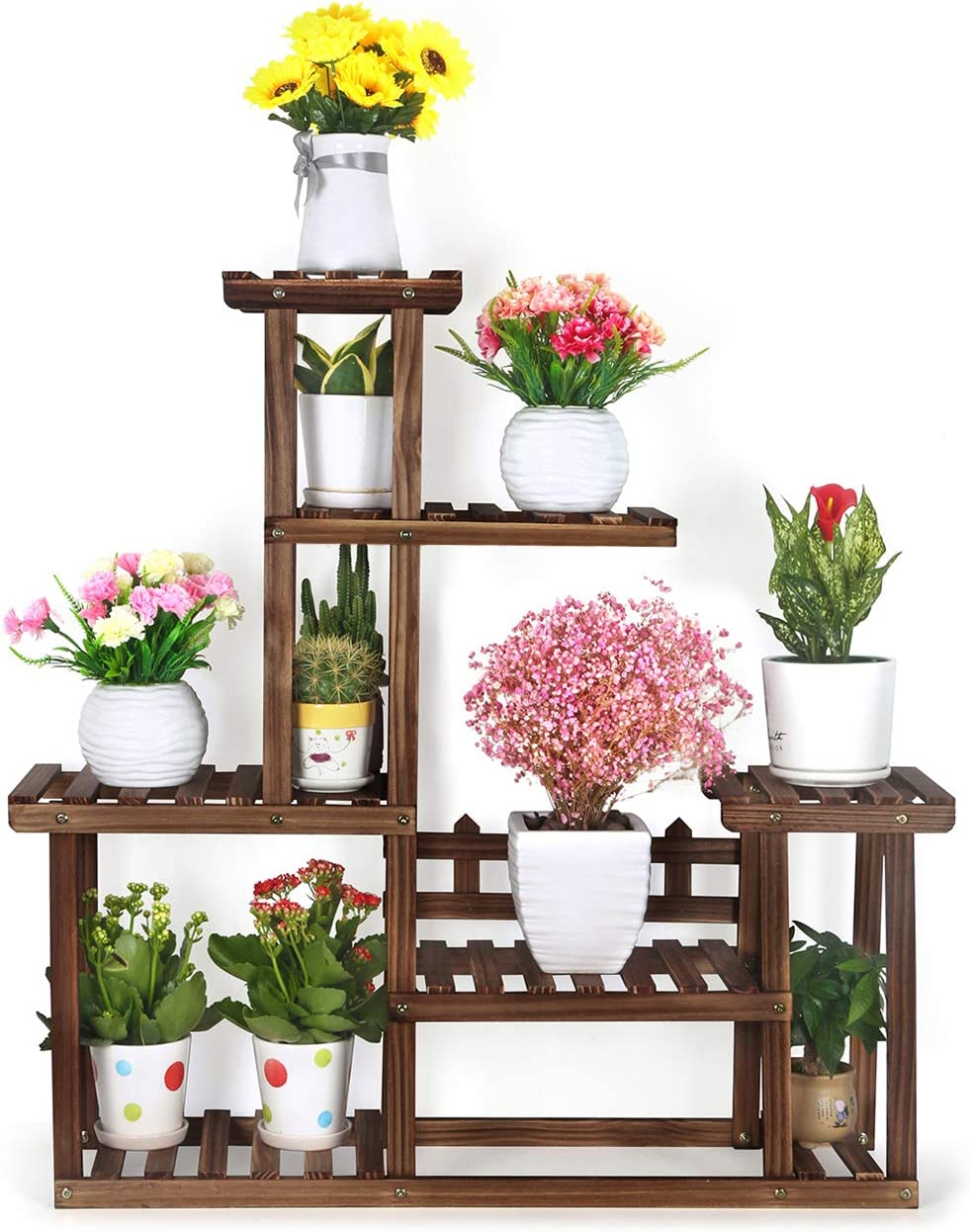 Foldify Pine Wood Plant Stand 5-Tiers 10 Pots Indoor&Outdoor Flower Plant Display Shelf Storage Rack Ladder Stand Rack Unit for Living Room Corner Patio Balcony Garden