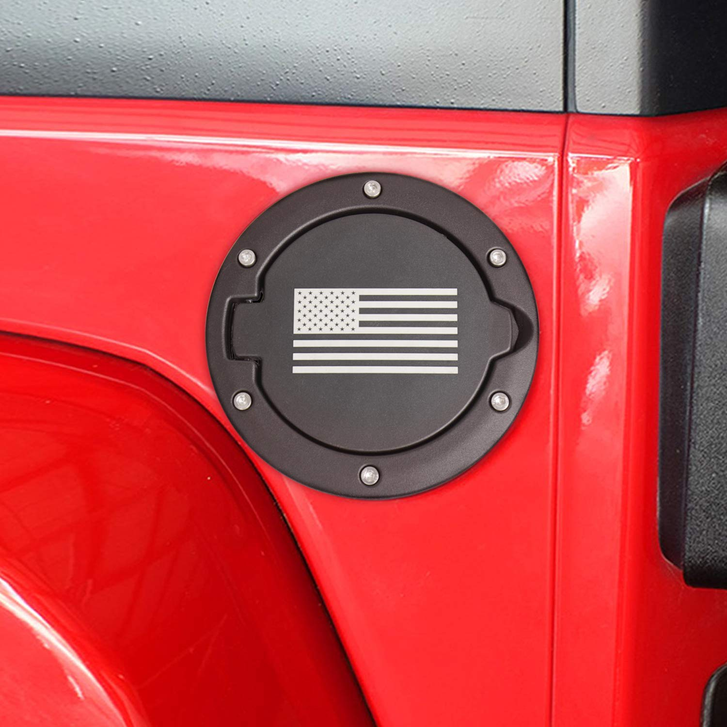 Gas Tank Cap for 2007-2017 Jeep Wrangler JK /& Unlimited 2-Door 4-Door USA Flag-Red /& Blue Fuel Filler Door Cover