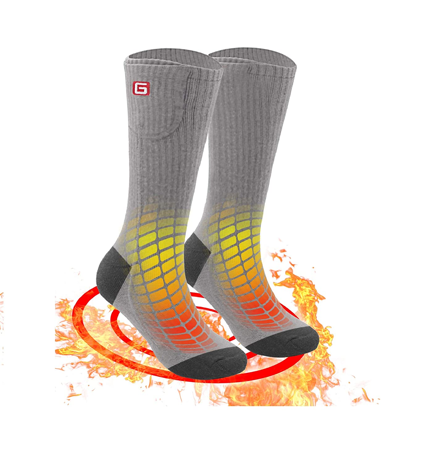 Greensha Rechargeable Electric Heated Socks Cold Weather Thermal Heated Sox with 3 Levels Temperature Control for Chronically Cold Feet,Indoor or Outdoor Activities
