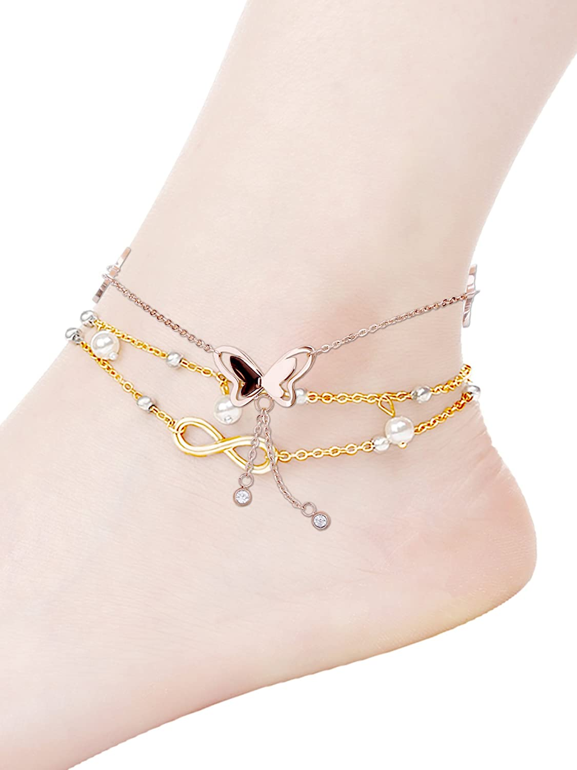 711ababdb 2 Styles Butterfly Ankle Anklet Alloy Anklet Chain Bead Ankle Bracelet with  Storage Bag for Women and Girls (Gold