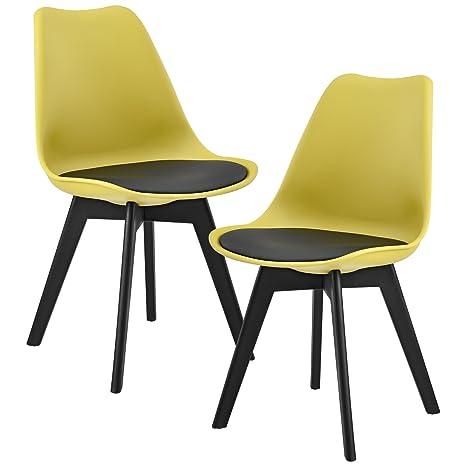 en.casa] 2 x Sedie Sala da Pranzo (Color Senape/Nero) per Sala da ...