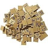Generic Scrabble en Bois Complet Lot de 100, Craft, jeux de société, Kit de fabrication de bijoux verni Carreaux