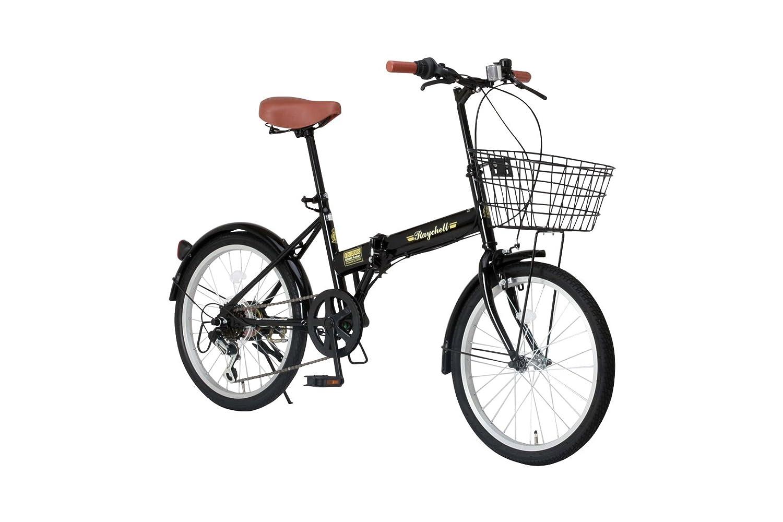 Raychell(レイチェル) 20インチ 折りたたみ 自転車 FB-206R シマノ6段変速 フロントLEDライト付 [メーカー保証1年] B00WJMY9ZE ブラック ブラック