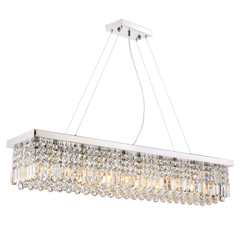 Rectangular crystal chandelier lighting dining room pendant lighting l47 x w10 x h10