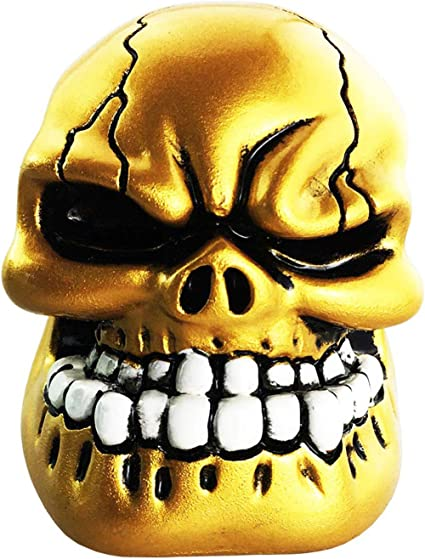 Metal Blue Abfer Universal Shift Knobs Skull Gear Stick Shifter Knob with Big Tooth Fit Most Automatic Manual Transmission Cars