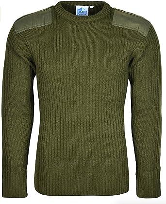 Jersey tipo militar de punto de alta calidad con cuello redondo, manga larga, para hombre