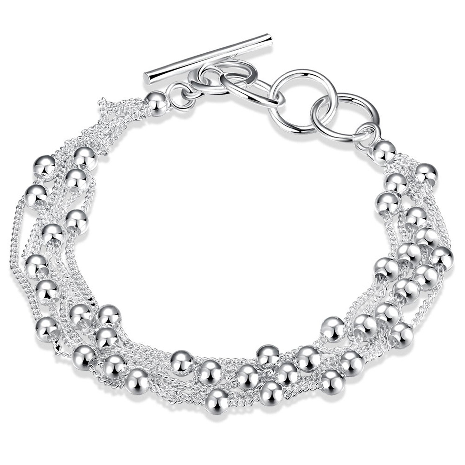 HMILYDYK Fashion Jewelry 925 Sterling Silver Plated Charm Chain Ball Bead Chains Bangle Bracelet For women teen girls