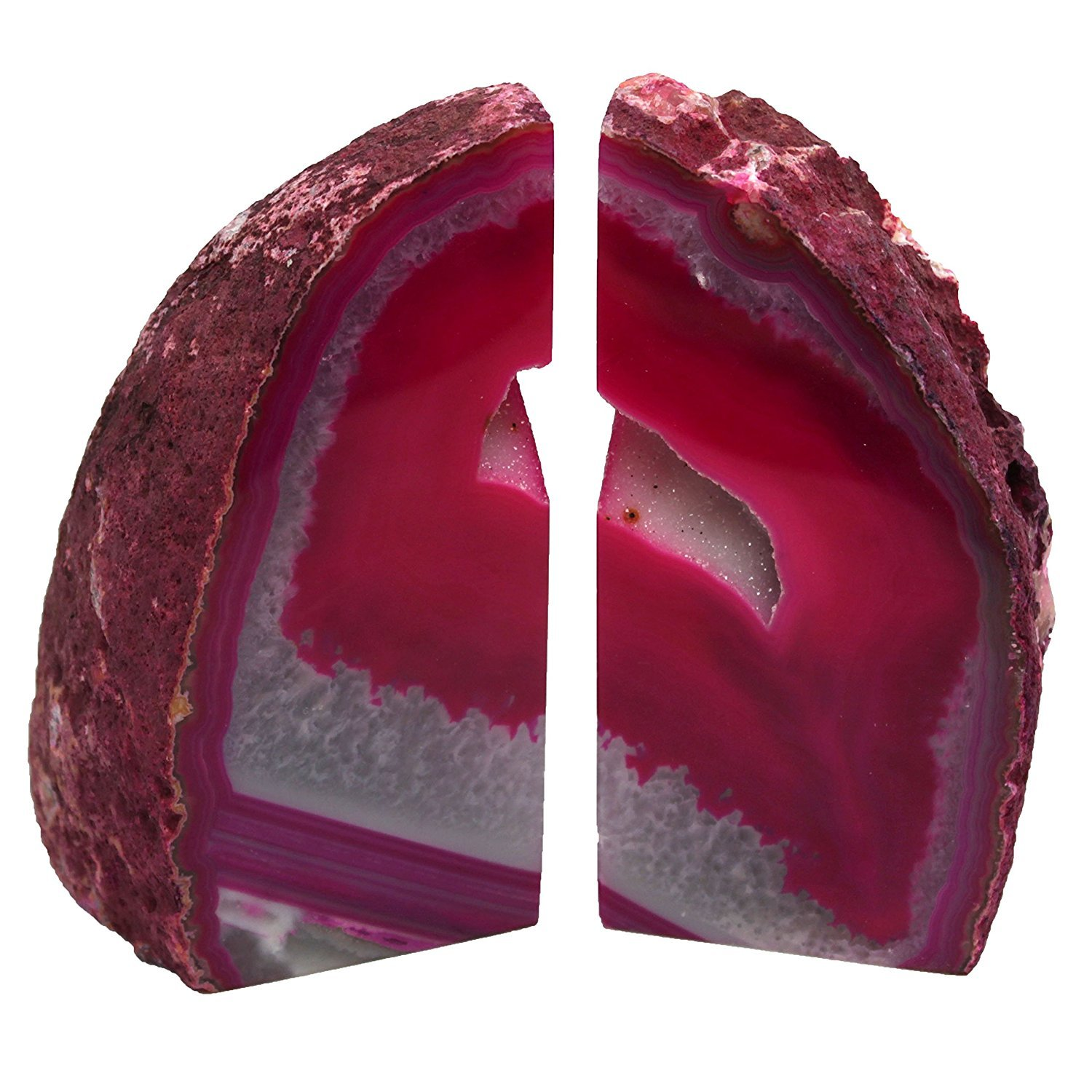 DIA Sold As Shown: Pink Agate Bookends Mid Size (PI4) by LE