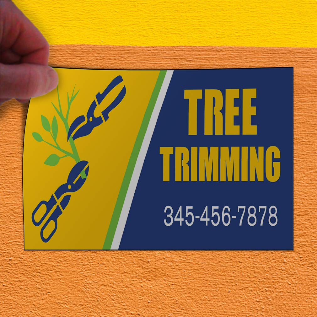 Custom Door Decals Vinyl Stickers Multiple Sizes Tree Trimming Blue Yellow Business Tree Trimming Outdoor Luggage /& Bumper Stickers for Cars Blue 42X28Inches Set of 5