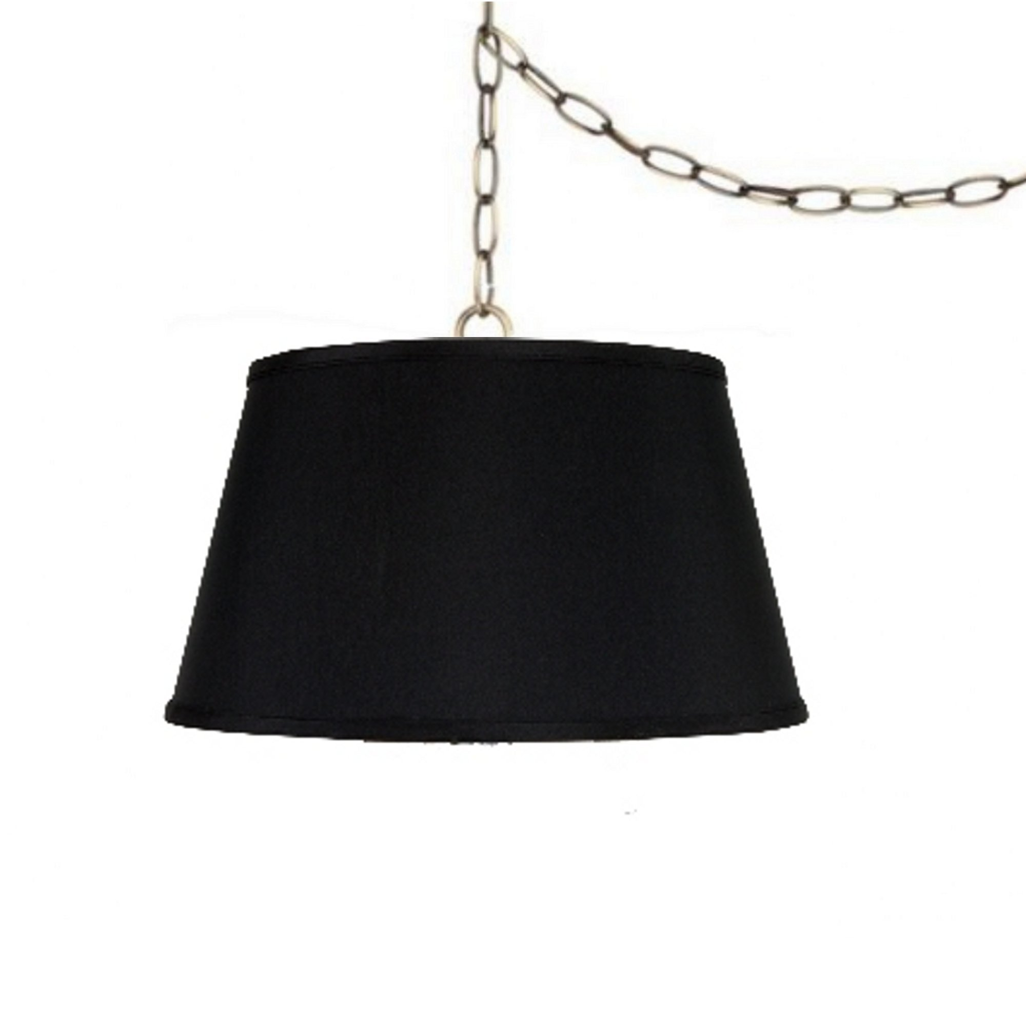 Upgradelights Swag Lamp Fixture 19 Inch Laminated Silk Pendant Lamp Shade in Black Hanging Light