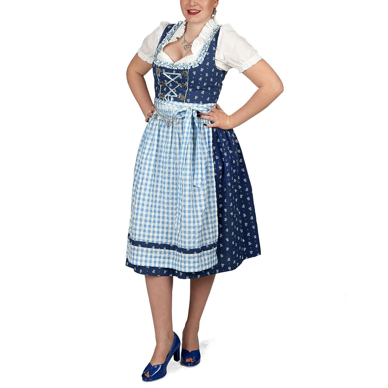 Dirndl Kostüm Midi Kleid mit Bluse u Schürze für Damen blau weiß