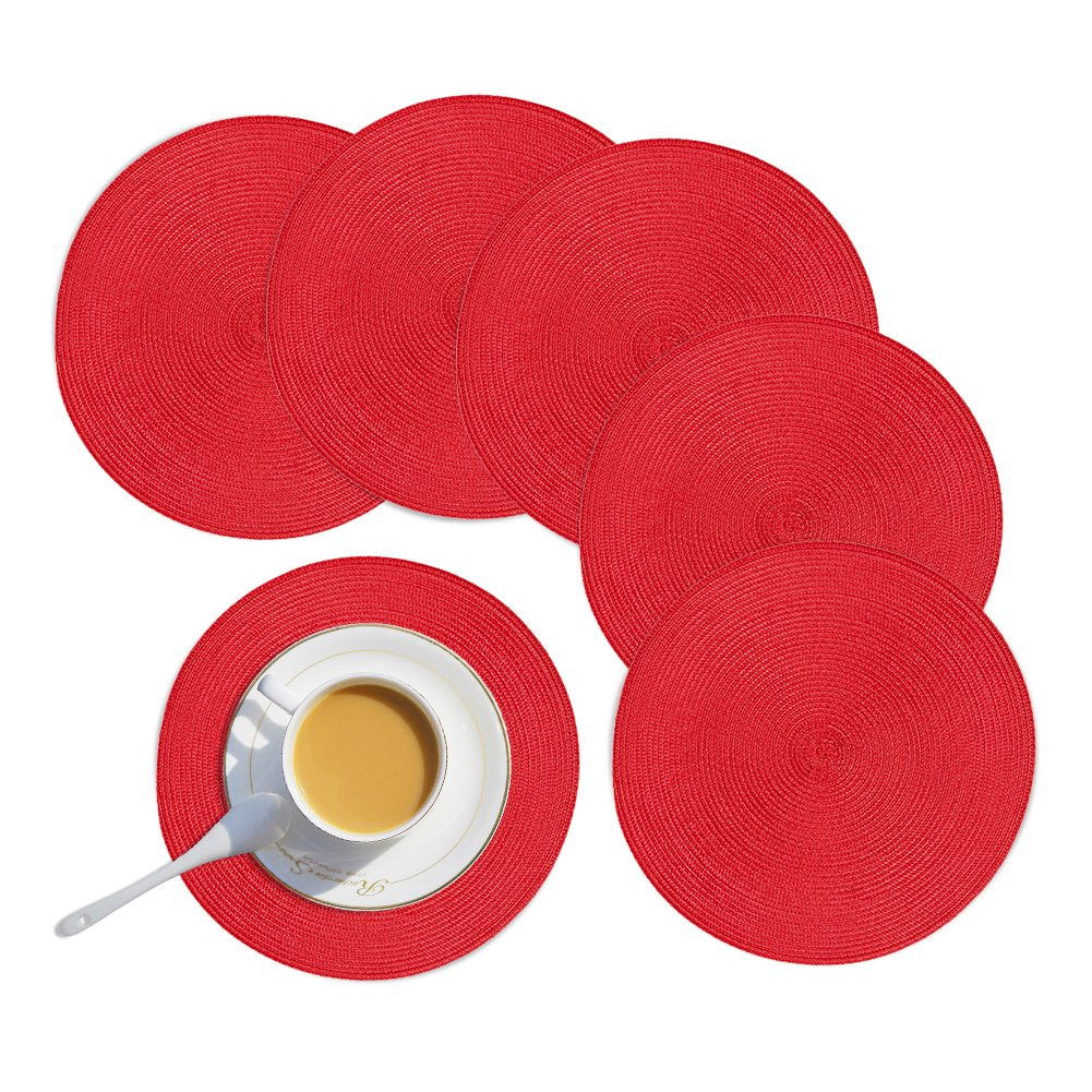 Homcomoda Round Placemats Set of 6 Heat Insulation Braided Round Table Placemats for Round Dining Table (set of 6, A-black)