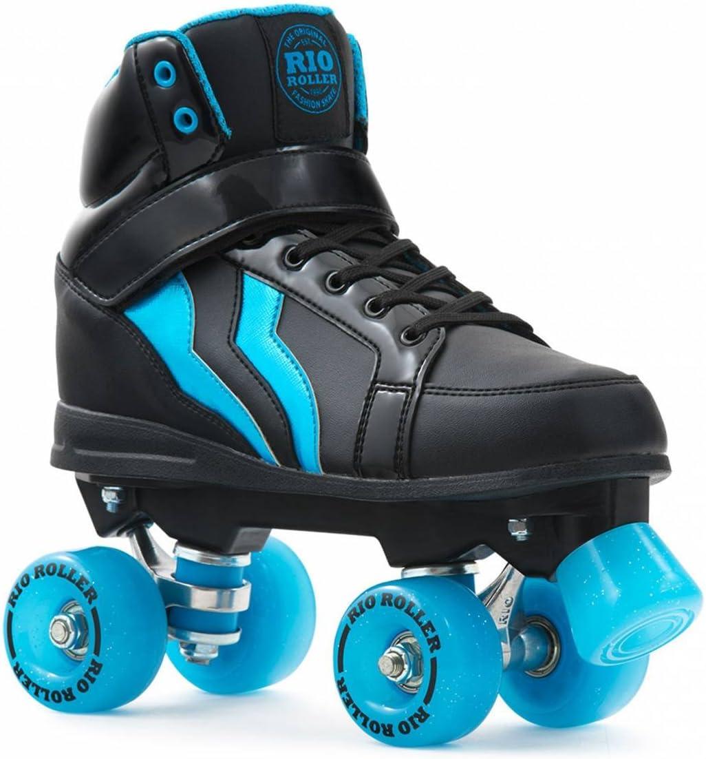 RioローラーKicks Quadsブラック/ブルー  Adults 6uk