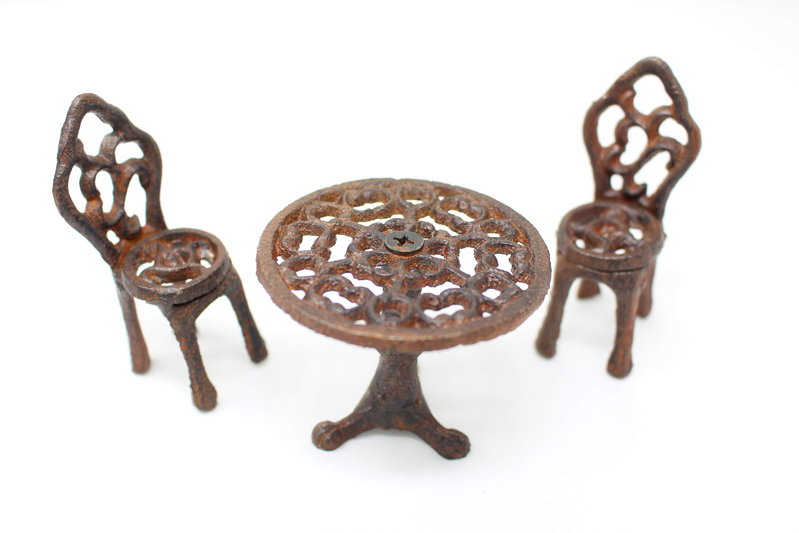 Chalily Miniature Garden Bistro Table with Chairs - Cast Iron