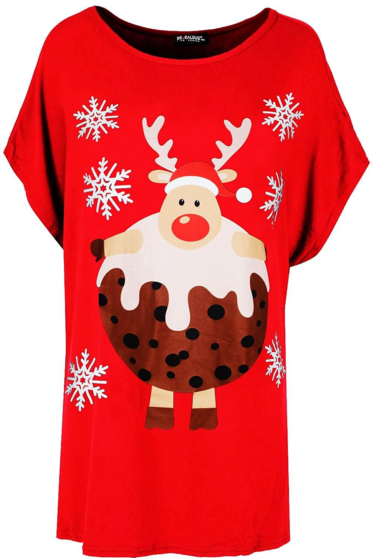Be Jealous Womens Ladies Christmas Baggy Reindeer Pudding Oversized Batwing Xmas T Shirt UK Plus Size 8-22