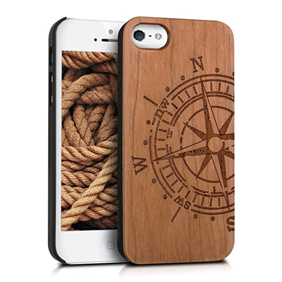 finest selection 875c8 ac5e1 kwmobile Apple iPhone SE / 5 / 5S Wood Case - Non-Slip Natural Solid Hard  Wooden Protective Cover for Apple iPhone SE / 5 / 5S