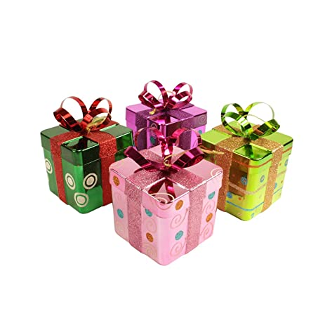 "Christmas Central 4ct Candy Fantasy Gift Box Shatterproof Christmas  Ornaments 6"" - Amazon.com: Christmas Central 4ct Candy Fantasy Gift Box"