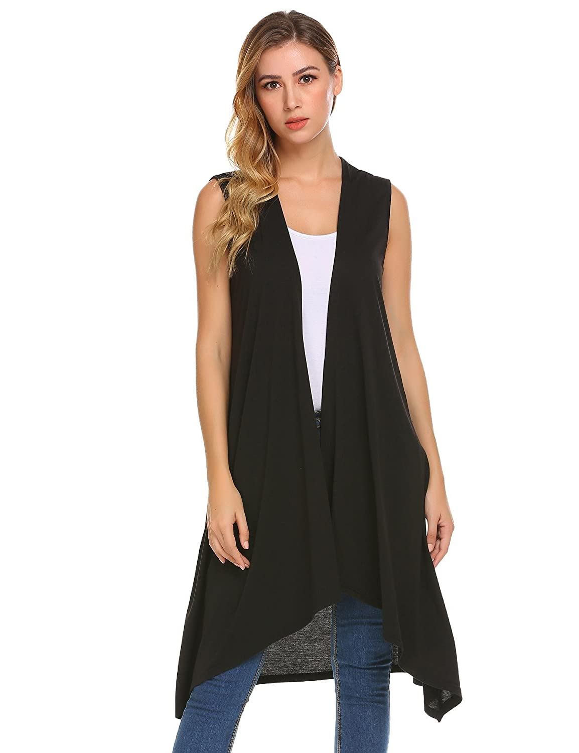 Grabsa Women's Casual Open Front Sleeveless Long Asymmetric Hem Cardigan