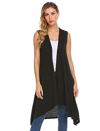 9f585a1c4252d7 Grabsa Women s Casual Open Front Sleeveless Long Asymmetric Hem Cardigan