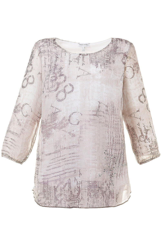 GINA LAURA Damen   Tunika mit Zahlen & Buchstaben   Weiße Bluse mit Aufdruck    Gerader Schnitt, Rundhals-Ausschnitt & ¾ Ärmel   bis Größe XXXL   709941:  ...