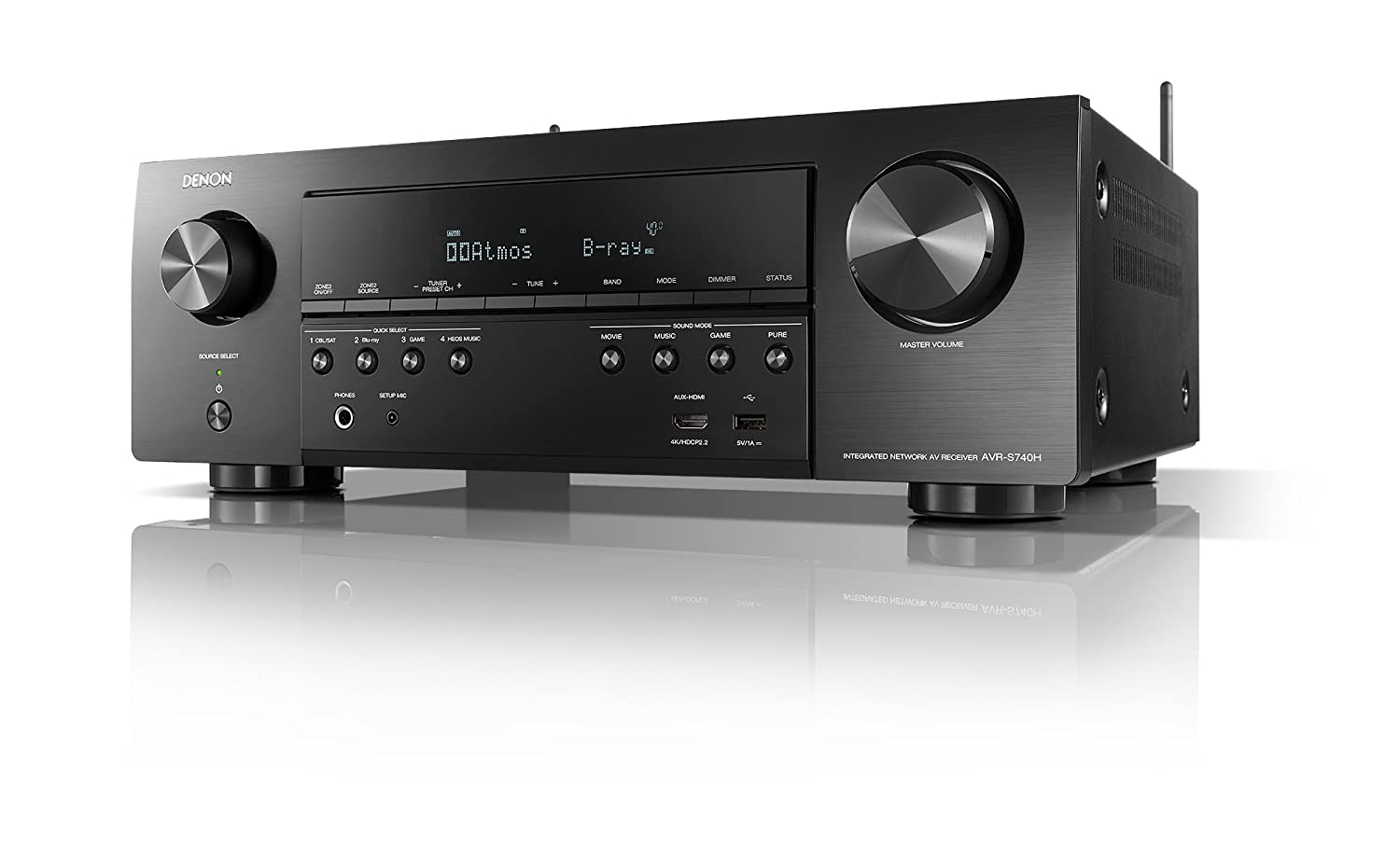 Denon AVR-S740H Receiver, 7 2 Channel 4K Ultra HD for Unmatched Realism, 3D  Audio, Dolby Surround Sound (Atmos, DTS/Virtual), Stream Music with Alexa