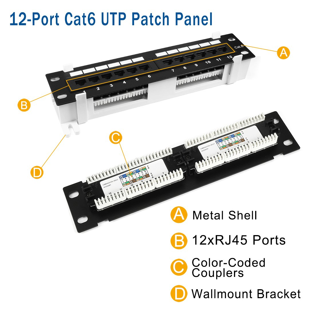 Uxcell 12 Port Cat6 Rj45 Ethernet Patch Panel Utp Wiring Diagram Cat5e Cat3 Unsheilded 10 Inch With Wallmount Bracket Black Computers Accessories
