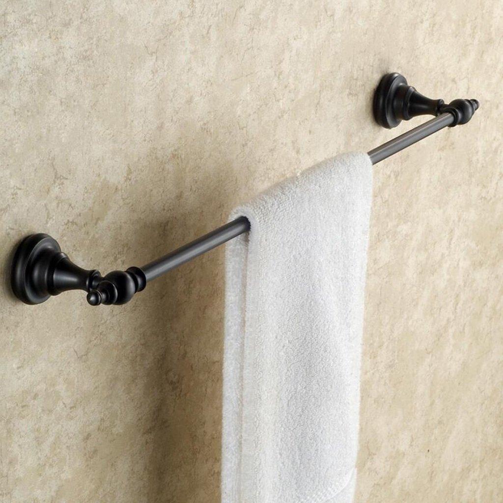 KKY-ENTER タオルラック バスルームウォールマウントブラックピュア銅タオルバーバスルームアクセサリーシングルポールタオル棚 ( サイズ さいず : 60 cm 60 cm ) B078NL3B2X 60 cm 60 cm 60 cm 60 cm