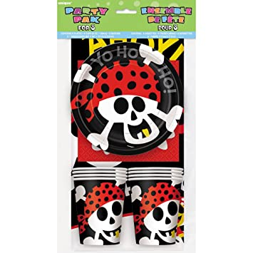 Pirate Party Tableware Kit for 8  sc 1 st  Amazon.com & Amazon.com: Pirate Party Tableware Kit for 8: Childrens Party Supply ...