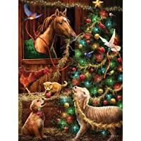 Bits and Pieces - 1000 Piece Glow-in-the-Dark Jigsaw Puzzle for Adults - Christmas Barn - 1000 pc Animals Christmas Holiday Jigsaw by Artist Larry Jones