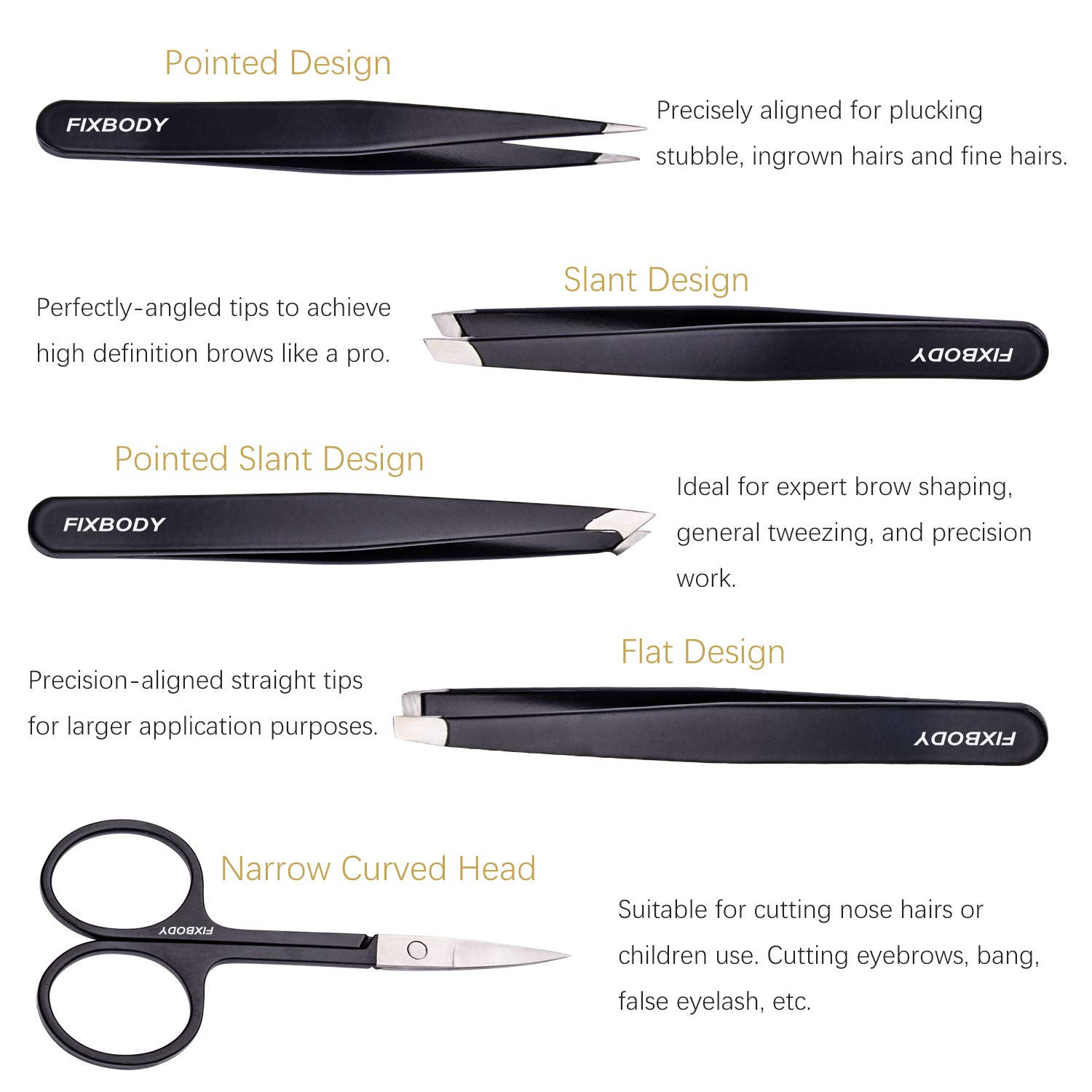 FIXBODY Tweezers Set 5-Piece - Professional Stainless Steel Tweezers with Curved Scissors, Best Precision Tweezer for Eyebrows, Splinter & Ingrown Hair Removal with Leather Travel Case