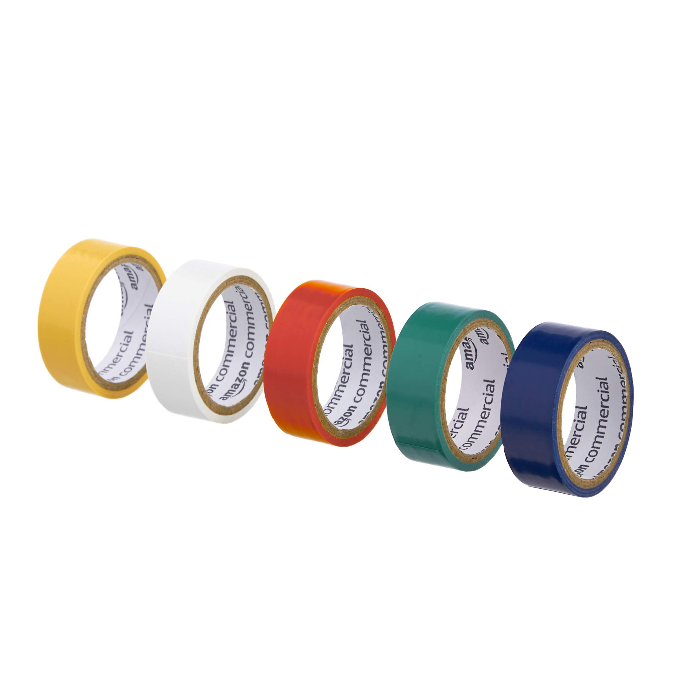 AmazonCommercial Vinyl Plastic Colored Tape, 3/4-inch by 3.47-Yard, Multi-Color, 10-Pack