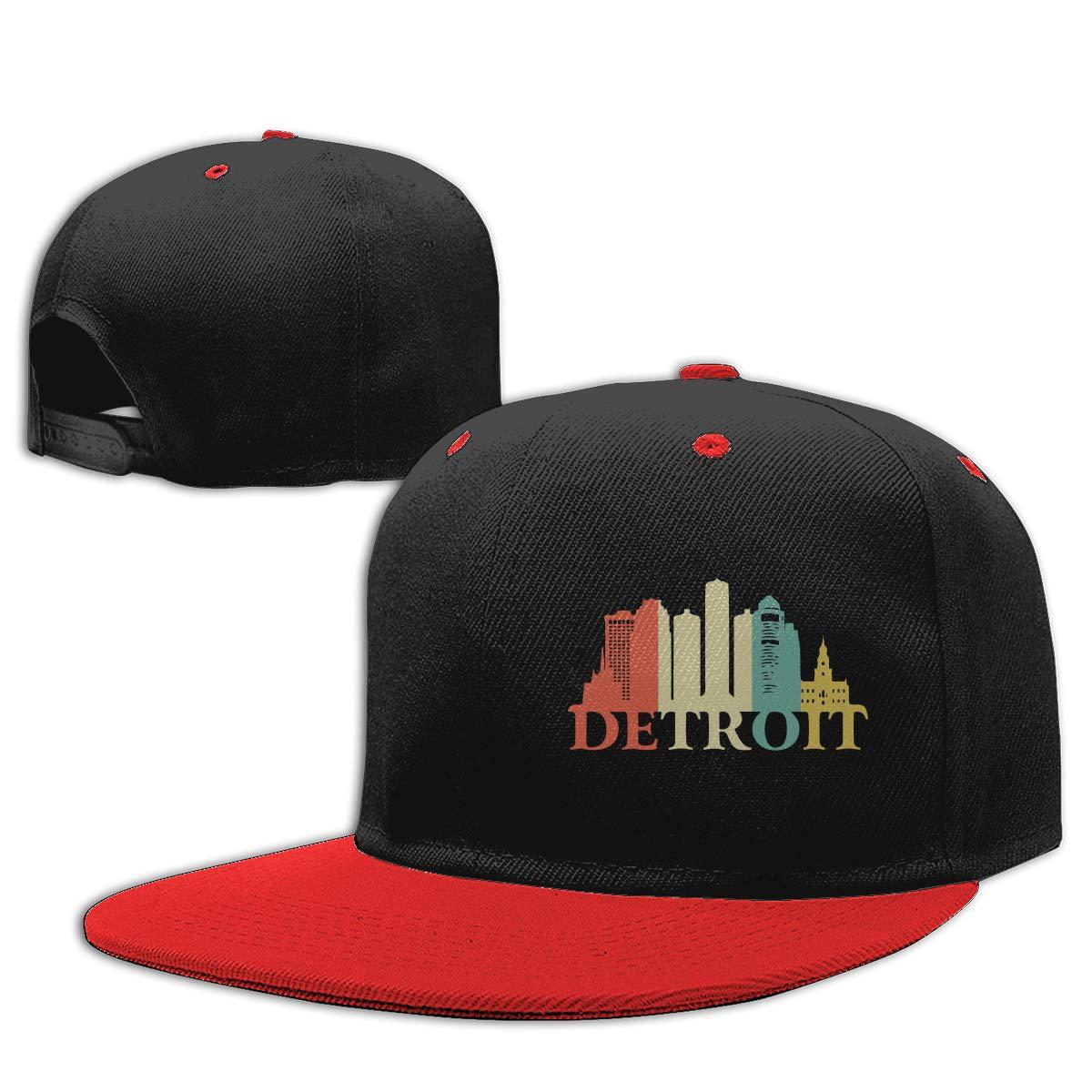 Retro Detroit Michigan Cityscape Printed Flat Bill Baseball Caps NMG-01 Men Womens Hiphop Cap