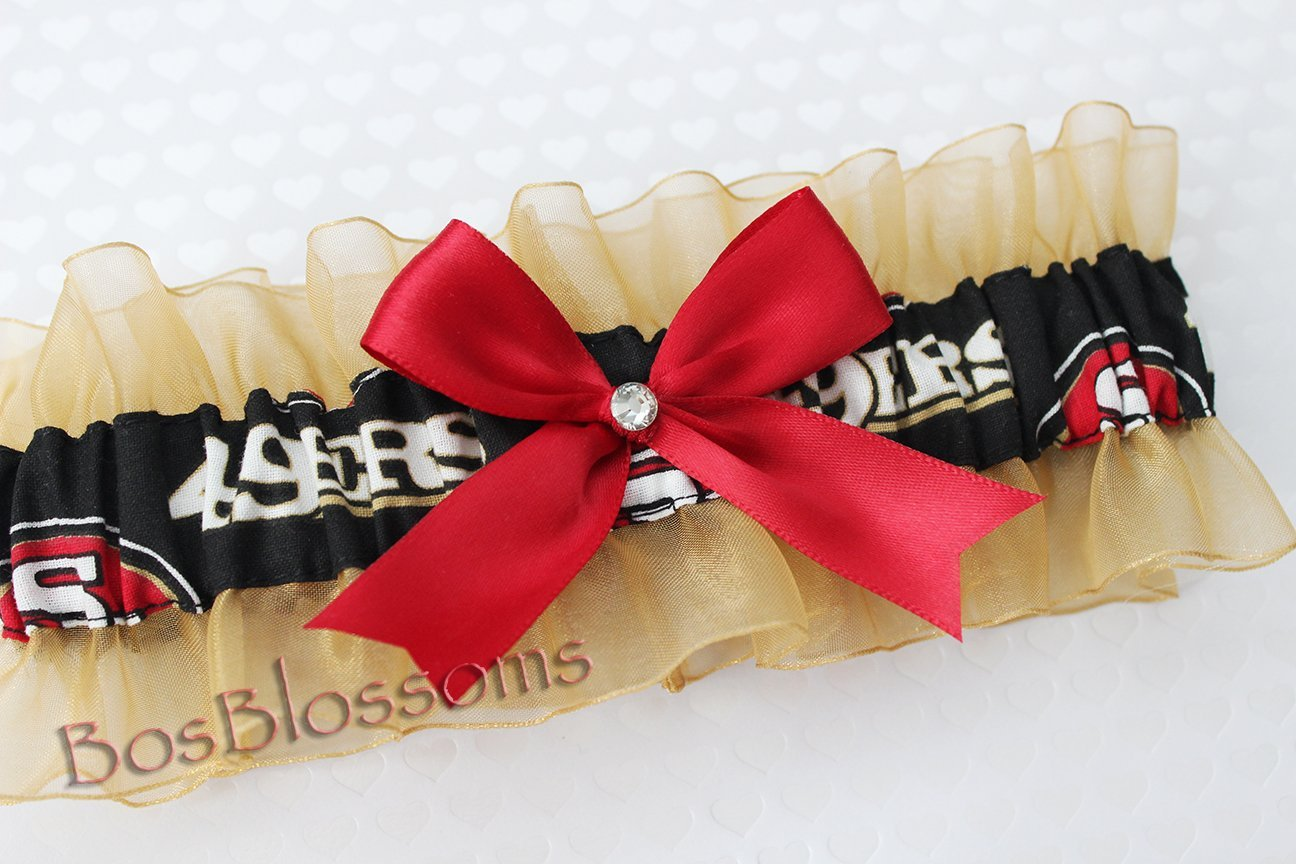 San Francisco 49ers black fabric handmade into keepsake garter on gold organza bridal prom wedding garter with red bow wks Customizable