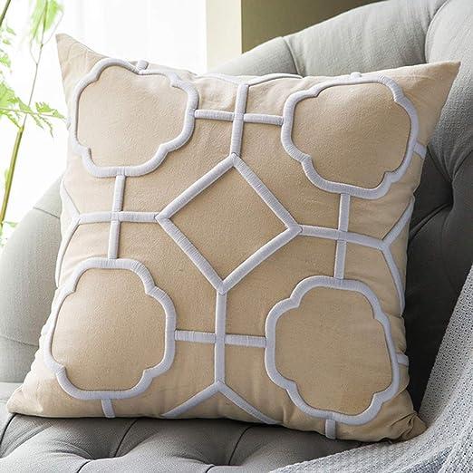 DOKOT Fundas de Cojin 50 x 50 cm Lino Soft Decorativa Cuadrado Fundas de Almohada Bordado Caso para Sofá Dormitorio Auto Geométrico Beige Blanco