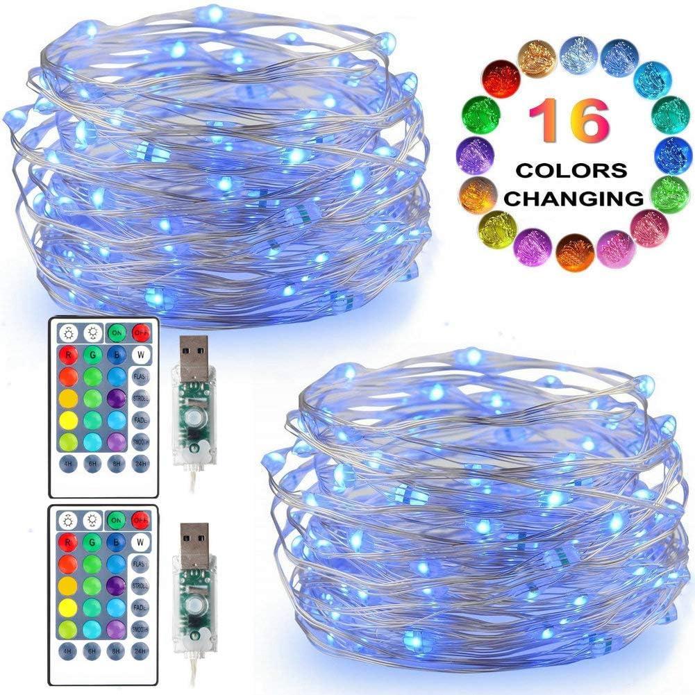 LiyuanQ LED String Lights, 2 Set Multi Color Changing Fairy Lights USB Plug-in Fairy String Lights Remote & Timer, 4 Modes Indoor Decorative Silver Wire Lights Bedroom Party Xmas (16 Colors, 50 LEDs)