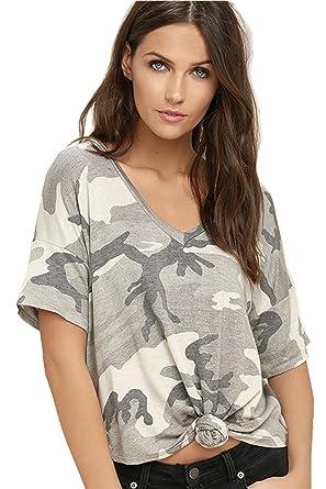 Armee Militär Camo Tarnung Gedruckt Schnürung Bindung Vorne V-Ausschnitt Kurzarm  T-Shirt Tee 273c516ff4