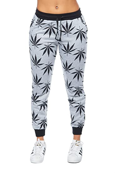 Womens Marijuana Leaves Printed French Terry Joggers Pants PFT1477 (L, H.Grey)