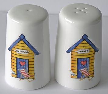 Crackinchina - Juego de salero y pimentero, diseño de casetas de playa, 3 colores de casetas de playa a elegir, porcelana, Yellow beach hut: Amazon.es: ...