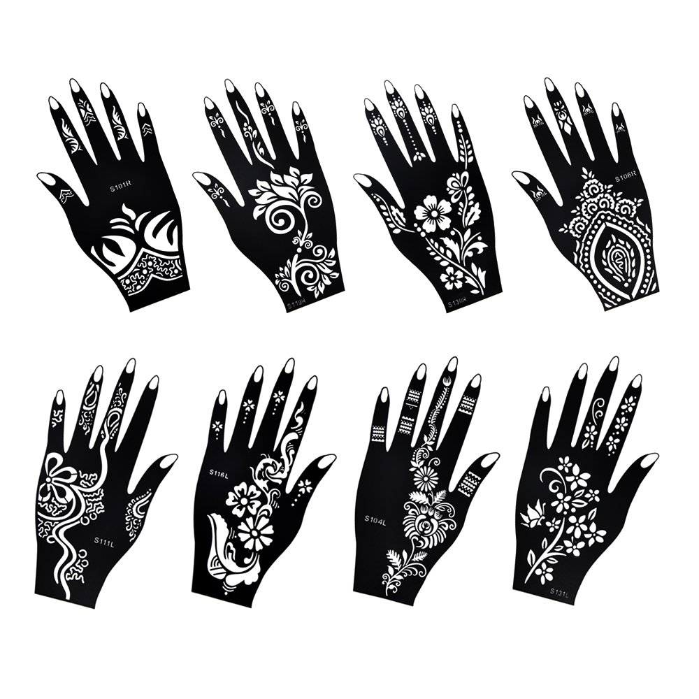 Henna Tattoo Stencil / Temporary Tattoo Temples Set of 8 Sheets,Indian Arabian Tattoo Reusable Stickers Stencils Body Art Designs for Hands