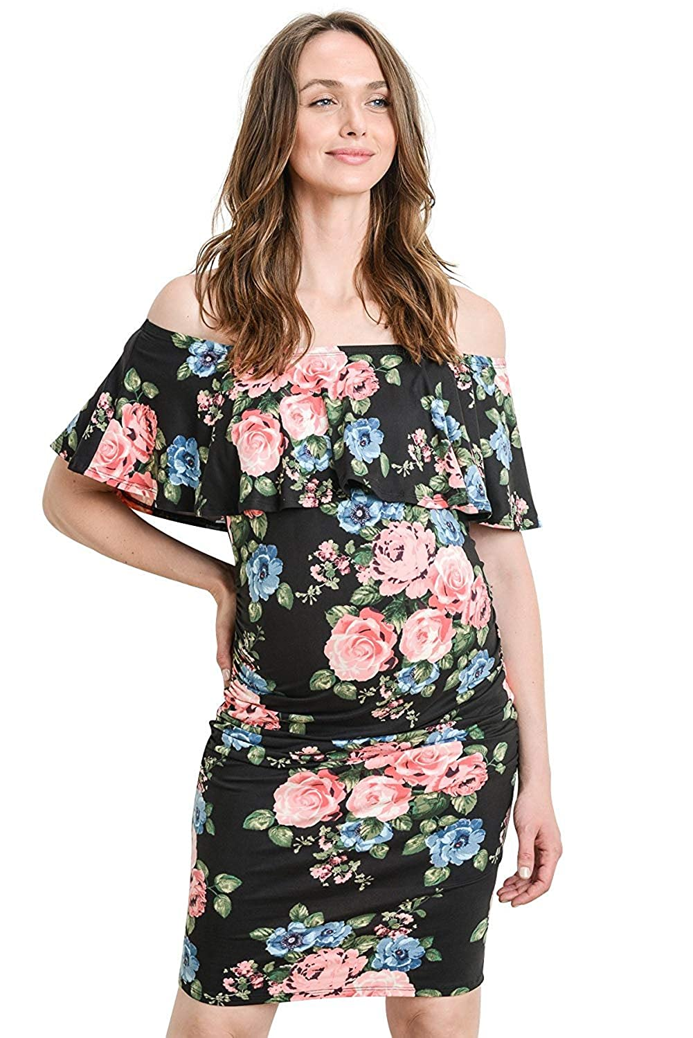 Hello MIZ Womens Floral Ruffle Off Shoulder Maternity Dress Made in USA