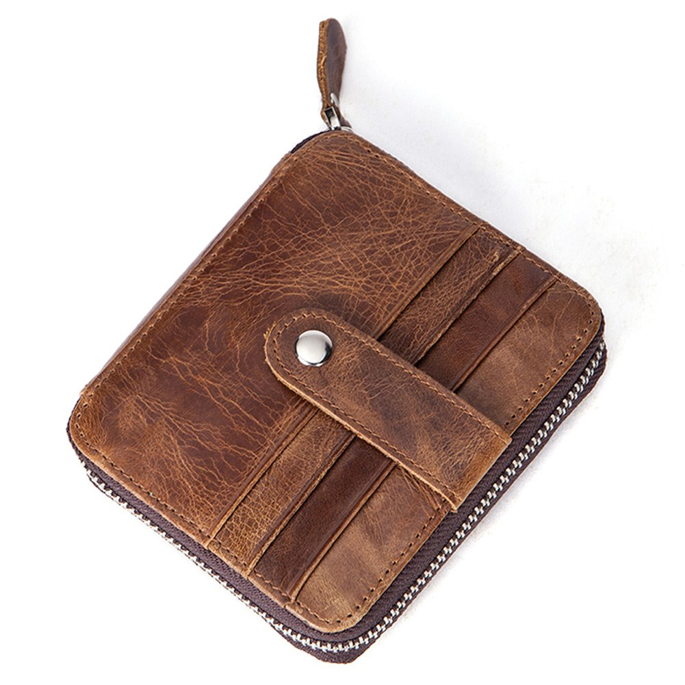 NIUCUNZH Mens High Capacity Leather Zipper Around Card Case Wallet Multi-Card Holder Brown