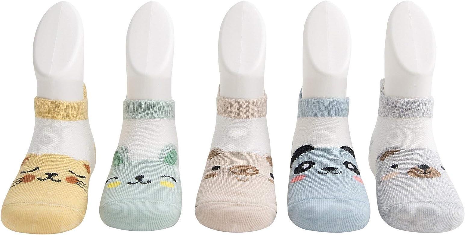DEBAIJIA 5 Pares de Calcetines de Algodón para Bebé Calcetines Cortos para Niños de 0-12 meses Calcetines Suaves y Respirable para Niñas niños para la Primavera Verano en Otoño - Animal -