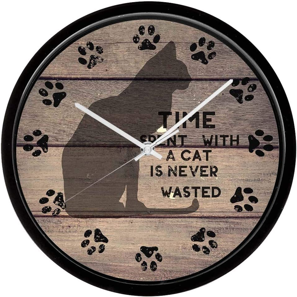 XinsFaith Silent Decorative Frame Wall Clock Time Spent with a Cat 10 Inch Wall Decor Arabic Numerals for Bedroom Living Room Kitchen