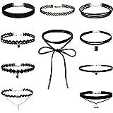 Choker Collares, SportFun 10 Piezas Gargantilla Collares Elástico Terciopelo, Diseño, GóTico CláSico Del Tatuaje Encaje Negro