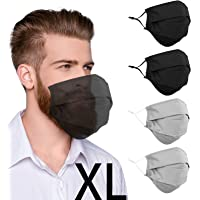 4 Pcs Beard Extra Large Face Cover with Nose Wire and Adjustable Ear Loops for Bearded Men