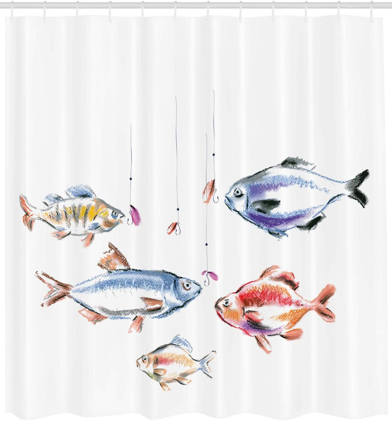 Amazon Com Lunarable Fishing Shower Curtain Retro Fishing Love Theme With Goldfish Herring Bream Bass Salmon Image Cloth Fabric Bathroom Decor Set With Hooks 105 Extra Wide Multicolor Home Kitchen