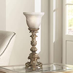 """French LED Uplight Desk Table Lamp 18"""" High Beige Wash Candlestick Alabaster Glass Shade for Bedroom Bedside Office - Regency Hill"""
