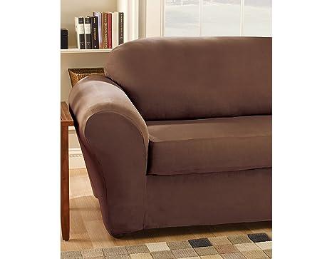 Super Surefit Stretch Suede Bench Seat Loveseat Slipcover Chocolate Sf34801 Machost Co Dining Chair Design Ideas Machostcouk
